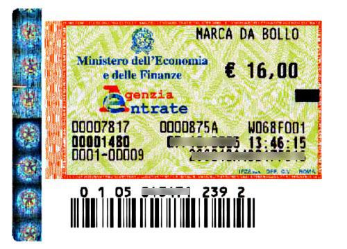 Marca da bollo di € 16,00 ogni 100 righe